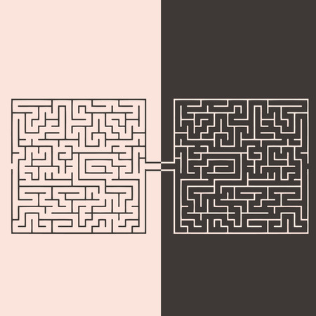 Confrontation labyrinths, the idea of opposition opinions. Vector illustration. Illustration