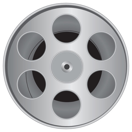 cinematografico: Pel�culas cinematogr�ficas en una caja especial para su almacenamiento. Ilustraci�n del vector.