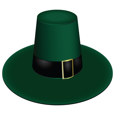 brimmed: Green leprechaun hat with a buckle. Vector illustration. Illustration