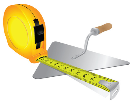 mason: Construction measuring tape and trowel bricklayer. Vector illustration.