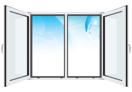 window view: Fantastic sky through open window. Vector illustration. Illustration