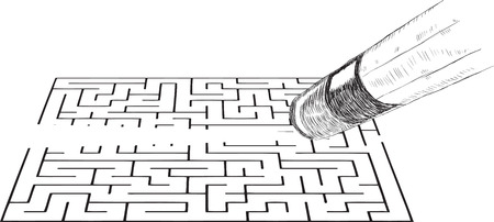 Office pencil with eraser erases the image of the labyrinth. Vector illustration.
