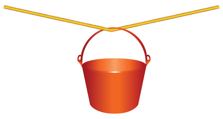 Red plastic bucket for construction work on a rope. Vector illustration.