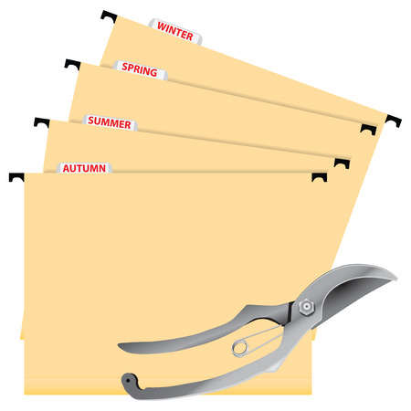 pruning: The folders to control the trimming and pruning shears. Vector illustration.