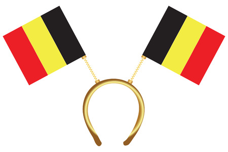 Cool headdress with flags Belgium. Vector illustration.