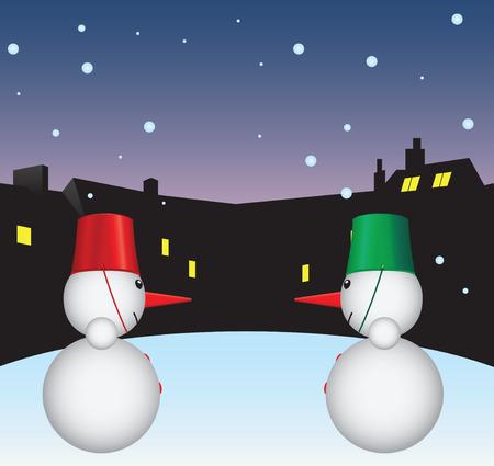 Muñecos de nieve en el patio. Ilustración vectorial sin dejar rastro. Foto de archivo - 32811722