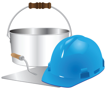 Helmet and trowel bricklayer with a bucket of cement. Vector illustration. Vector