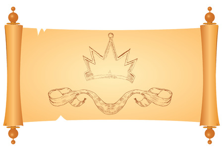 antiquities: Parchment with heraldic symbols of the crown and ribbon. Vector illustration.