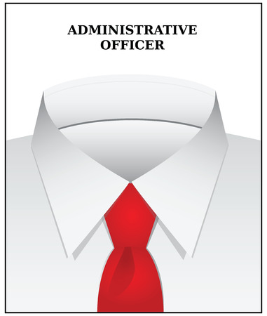 white coat: Clothing style administrative Officer - a white shirt and tie. Vector illustration.