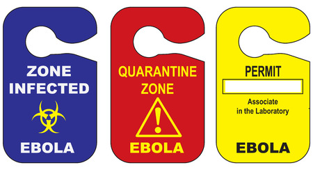 permit: Zone infected with the Ebola virus. Vector illustration.