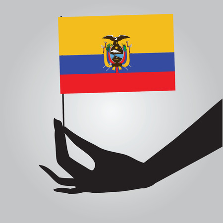Flag of Ecuador in a female hand. Vector illustration.