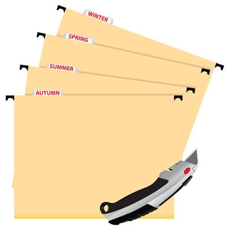 Office the folders as planners for the gardener. Vector illustration. Vector
