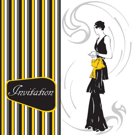 Modieuze kaart - uitnodiging met een vrouw in een stijlvolle jurk. Vector illustratie.