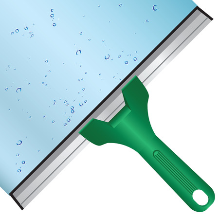 Wash the window glass by means of a scraper with a rubber surface. Vector illustration. Vector