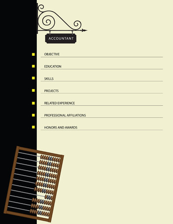 Sawn resume Accountant with wooden abacus. Vector. Ilustrace