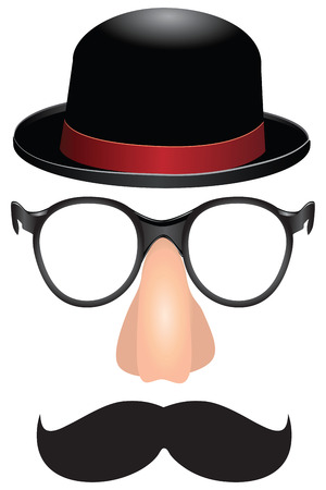 fake nose and glasses: Set for a party mustache, nose and glasses male cylinder.