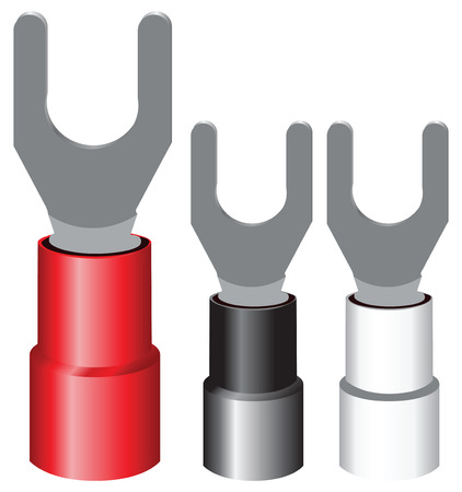 mounting: Insulated electrical components Terminal Spade for screw mounting wires.  Illustration