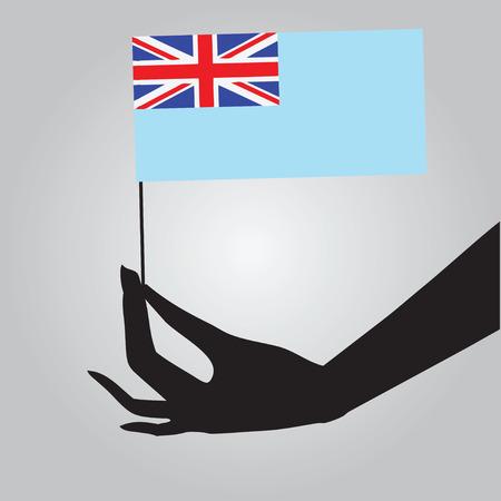 fiji: Fiji vlag in een vrouwelijke hand. Vector illustratie. Stock Illustratie