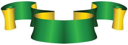 Vintage green and gold ribbon for decoration work. Vector illustration.