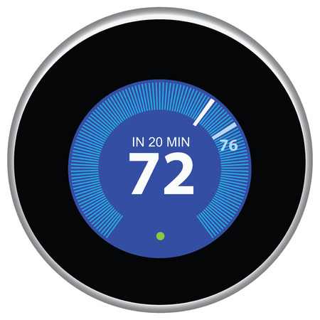 Nest thermostat controls and regulates the house remotely. Vector illustration.