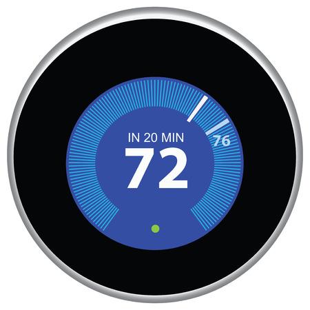 Nest termostat steruje i reguluje dom zdalnie. Ilustracji wektorowych.