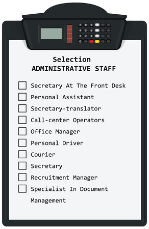 Clipboard with Selection Administrative Staff. Vector illustration.