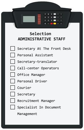 Klembord met Selection administratief personeel. Vector illustratie.