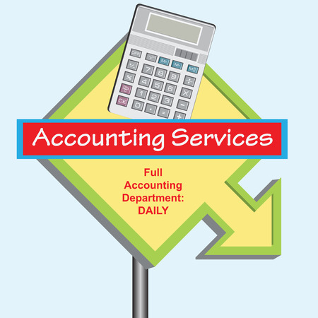 Banner Full Accounting Department with time work. Vector illustration. Vector