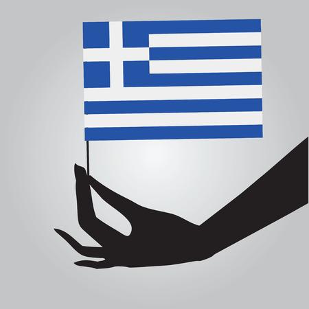 여성 손에 그리스의 국기입니다. 벡터 일러스트 레이 션.