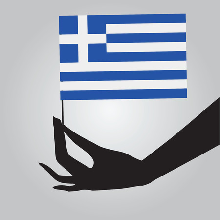 Flag of Greece in a female hand. Vector illustration.