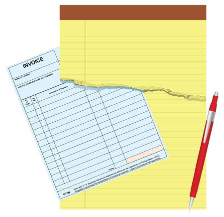 Blanco factuur met beschadigde notitieblokken. Vector illustratie. Stockfoto - 33419798
