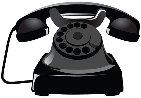 Old black phone with dust and scratches. Vector illustration.