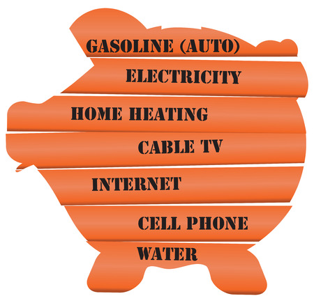 utility payments: Symbolic piggy bank in the form of a pig, consisting of utility payments. Vector illustration.