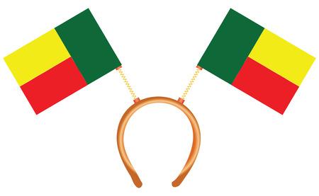 Cool headdress with flags Benin. Vector illustration.