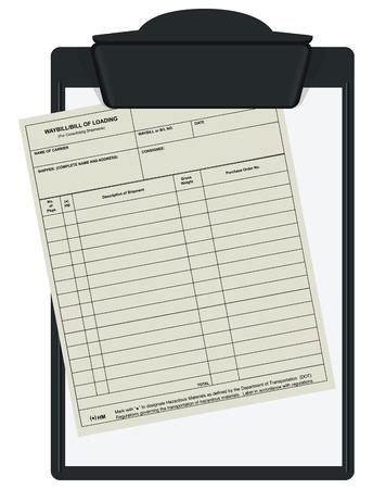 Clipboard with accounting forms waybill. Vector illustration. Illusztráció