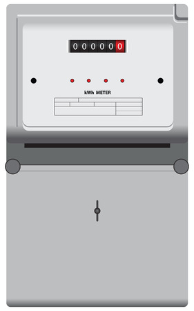 Household electric meter to monitor the flow of electricity. Vector illustration.