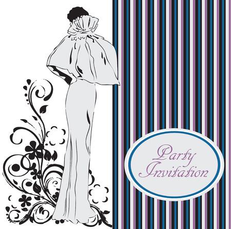 Uitnodiging kaart naar een partij met een vrouw in een avondjurk. Vector illustratie.