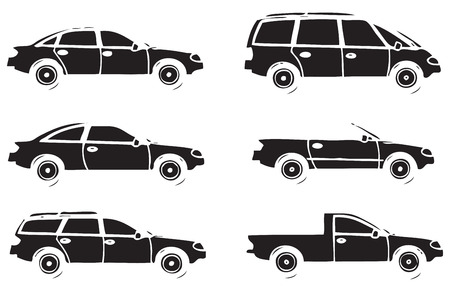 A set of contours of various cars. Vector illustration.