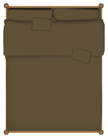 Double bed quilt bed made with the pillows. Vector illustration.