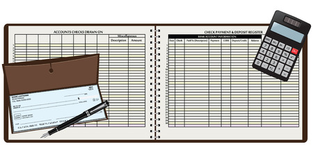 bank records: Registration book and pen with payment by bank check. Vector illustration.