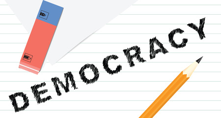 Creative democracy of pencil and eraser. Vector illustration.