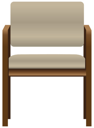 Office chair for visitors with a wooden frame. Vector illustration. Иллюстрация