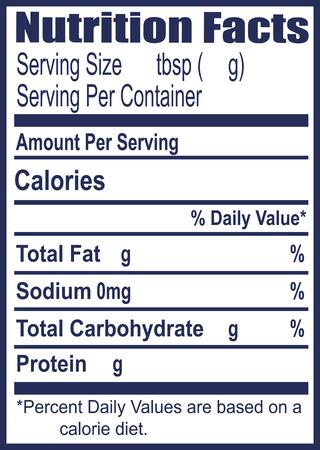 L'étiquette des informations sur la valeur nutritive. Vector illustration.
