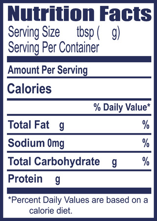 The label for information on nutritional value. Vector illustration. Vettoriali