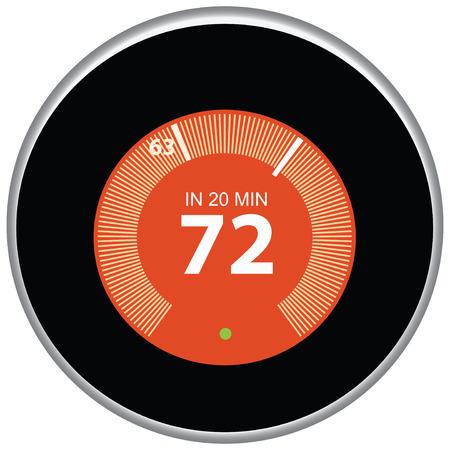 Nest thermostaat stuurt en regelt het huis op afstand. Vector illustratie.