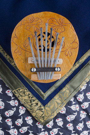 refers: Coconut Kalimba Thumb Piano refers to musical instruments lamellofon Stock Photo