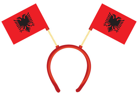 Cheerful headdress for the holiday with a flag of Albania. Vector illustration.