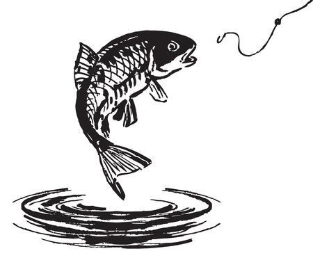 Vis uit het water springen. Vector illustratie. Stock Illustratie
