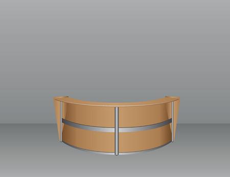 Interieur met een ovale tafel voor bezoekers in het kantoor. Vector illustratie.