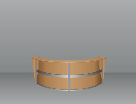 office furniture: Interior with an oval table for visitors in the office. Vector illustration.